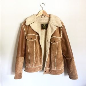 {Vintage} Men's Leather & Wool Bomber Jacket Sz 42